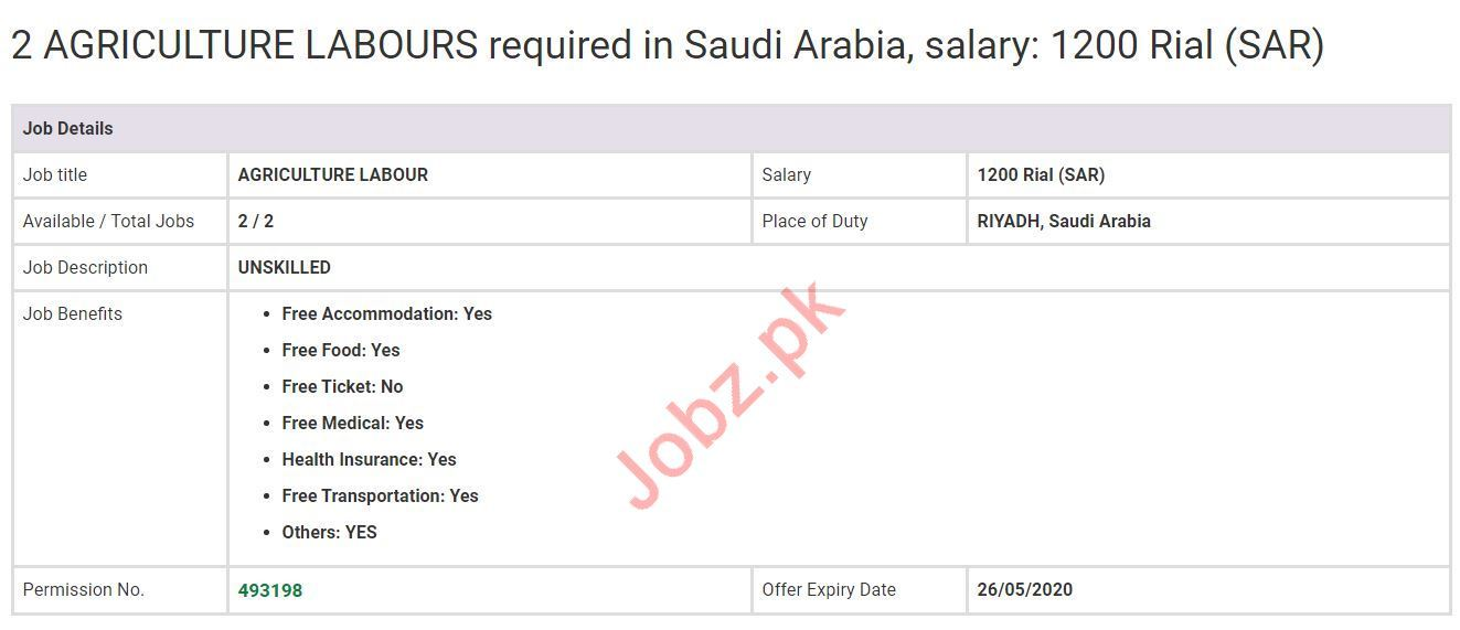 Agriculture Labour Jobs 2020 in Saudi Arabia