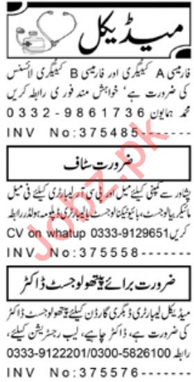 Daily Aaj Newspaper Classified Medical Jobs 2020 in Peshawar