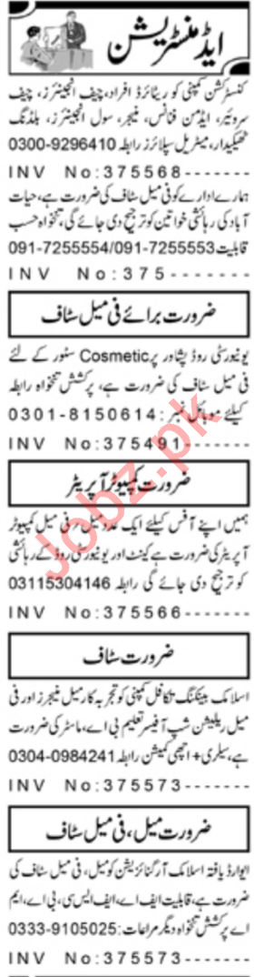 Daily Aaj Newspaper Classified Admin Staff Jobs in Peshawar