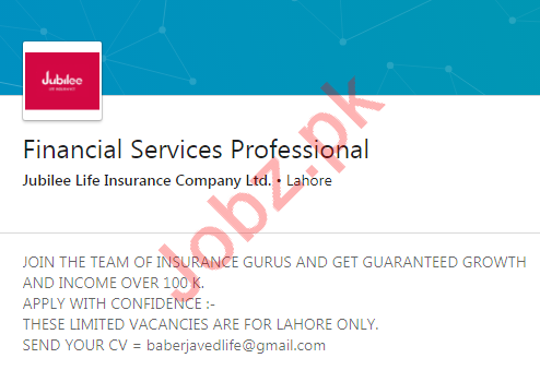 Jubilee Life Insurance Company Limited Lahore Jobs