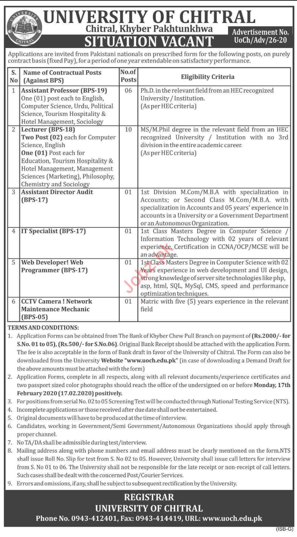 University of Chitral KPK Jobs 2020 for Professors