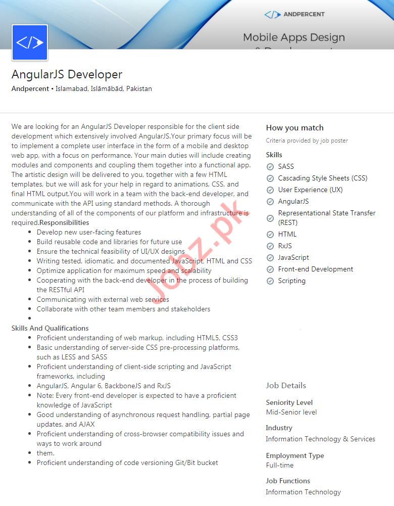 Angular JS Developer Jobs in Andpercent Mobile Applications
