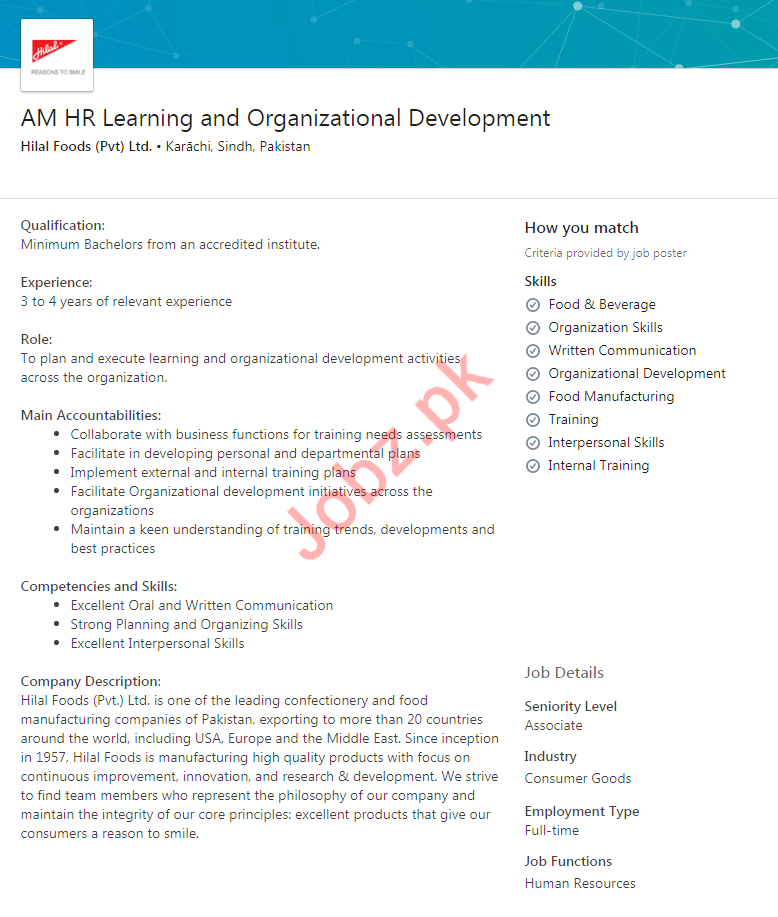 Assistant Manager HR Learning Jobs in Hilal Foods