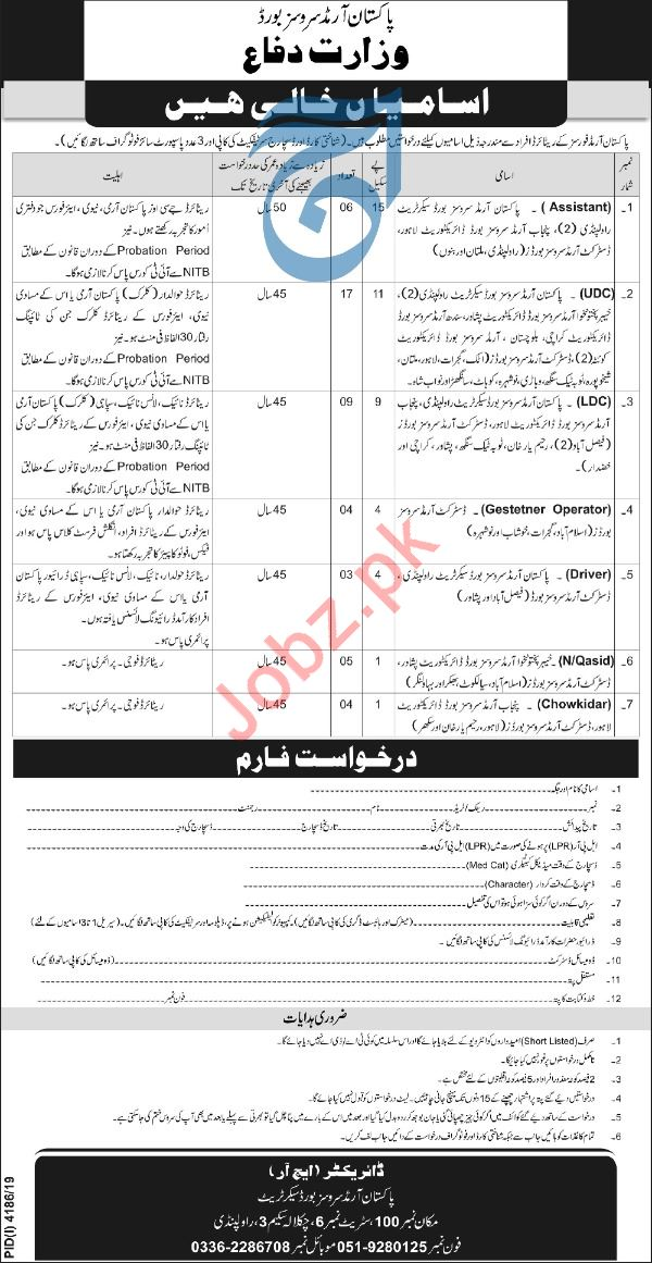 Pakistan Armed Services Board Ministry of Defence Jobs 2020
