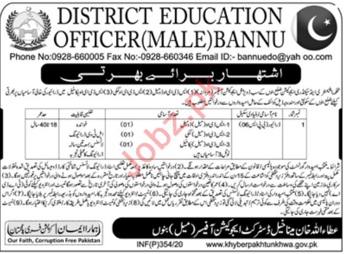 District Education Office Jobs 2020 For Drivers in Bannu KPK