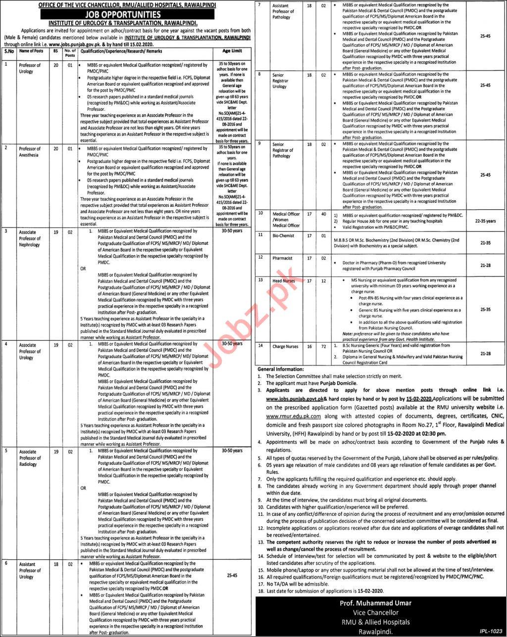 Institute of Urology & Transplantation Jobs in Rawalpindi