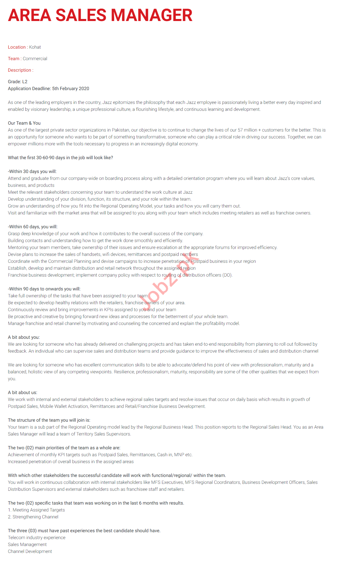 Area Sales Manager Jobs 2020 in Jazz Telecom