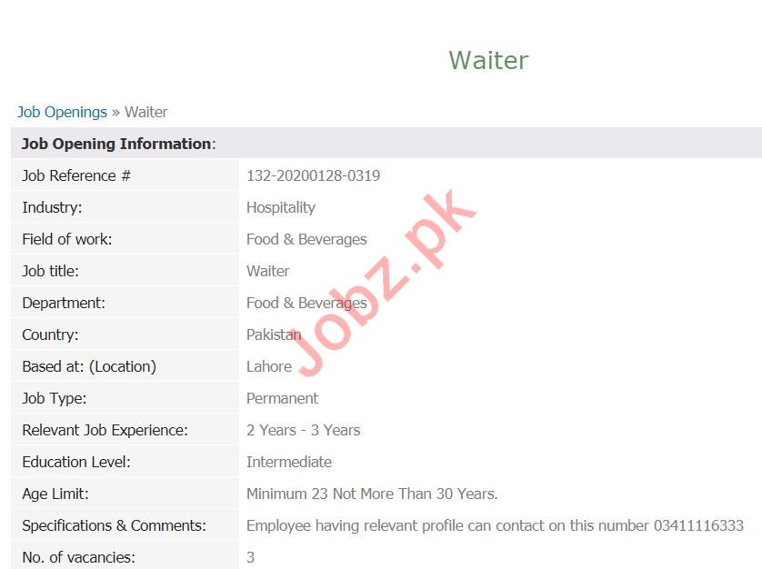 People TM Lahore Jobs 2020 for Waiter