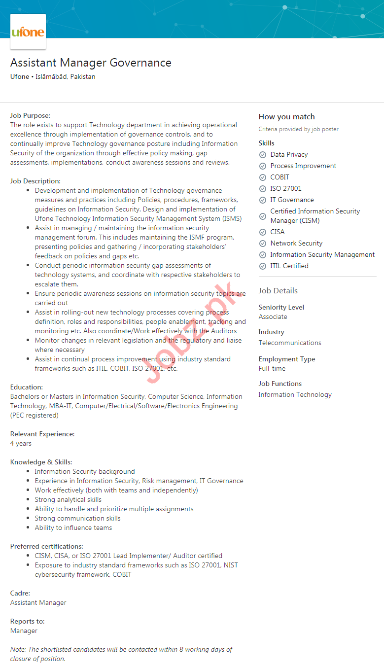 Assistant Manager Governance Jobs 2020 in Ufone Pakistan
