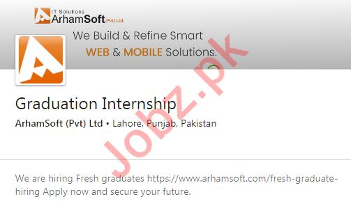 ArhamSoft Lahore Jobs 2020 for Graduation Internship