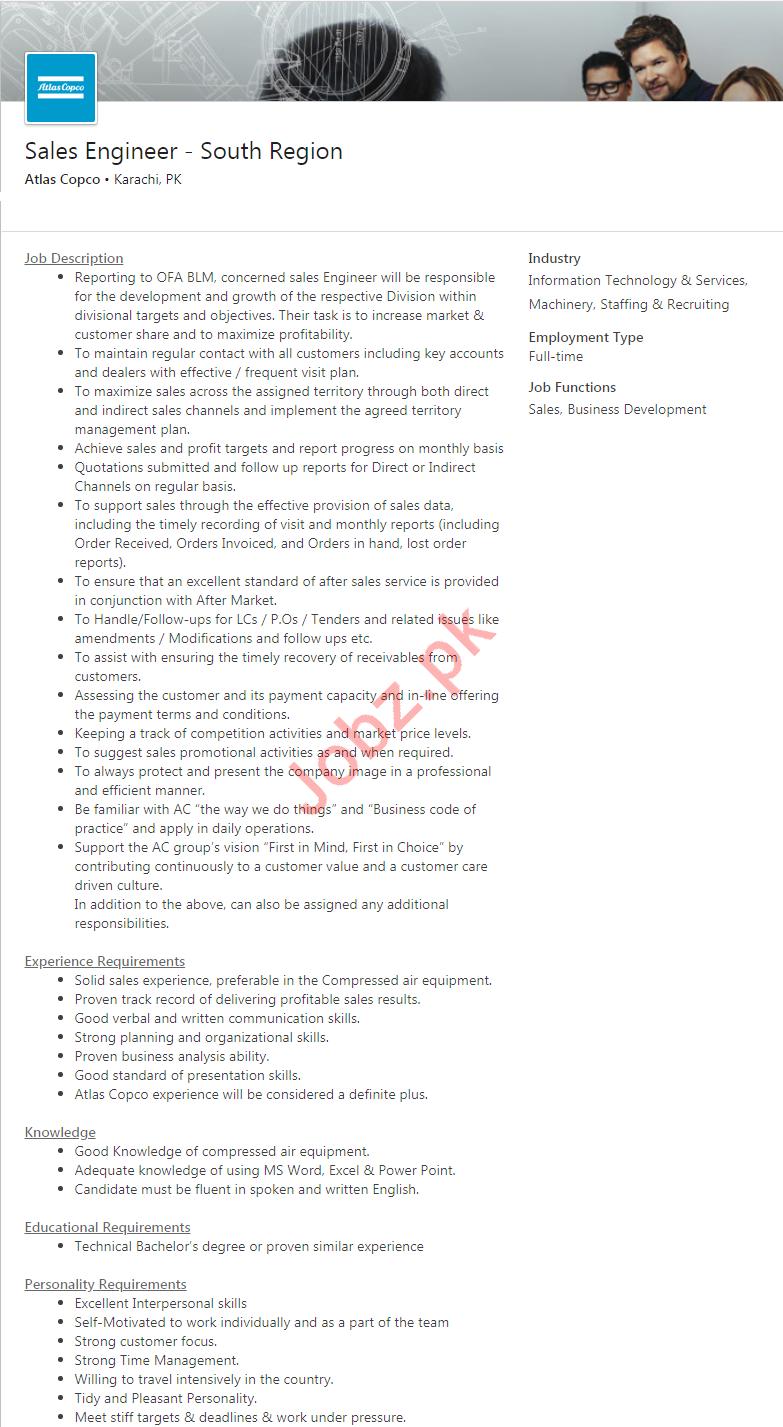 Atlas Copco Pakistan Jobs 2020 for Sales Engineer