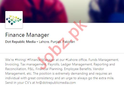 Dot Republic Media Lahore Jobs 2020 for Finance Manager
