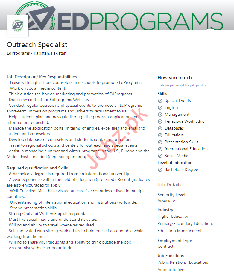 EdPrograms Pakistan Jobs 2020 for Outreach Specialist