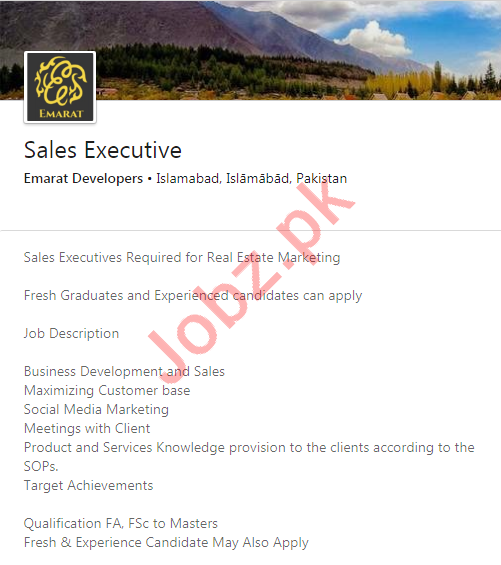 Emarat Developers Islamabad Jobs 2020 for Sales Executives