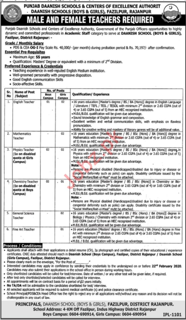 Punjab Daanish Schools & Center of Execellence Jobs 2020