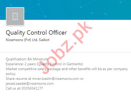 Nizamsons Private Limited Sialkot Jobs 2020