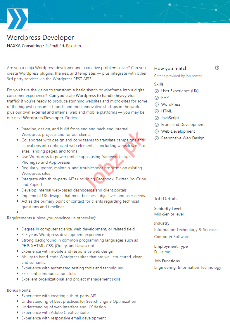 NAXXA Consulting Private Limited Islamabad Jobs 2020