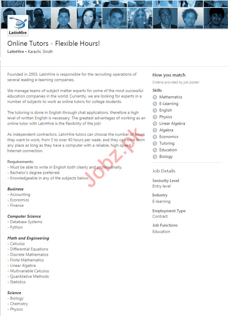 LatinHire Limited Karachi Jobs 2020 for Online Tutors