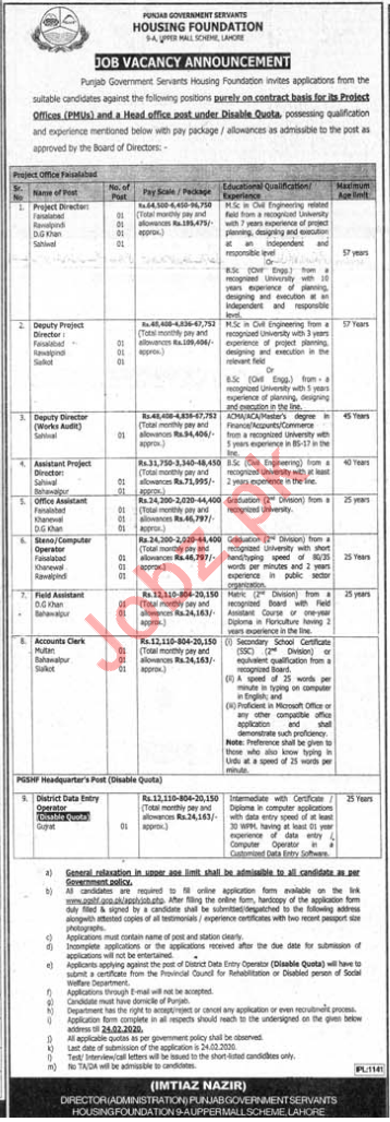 Punjab Government Servants Housing Foundation Jobs 2020