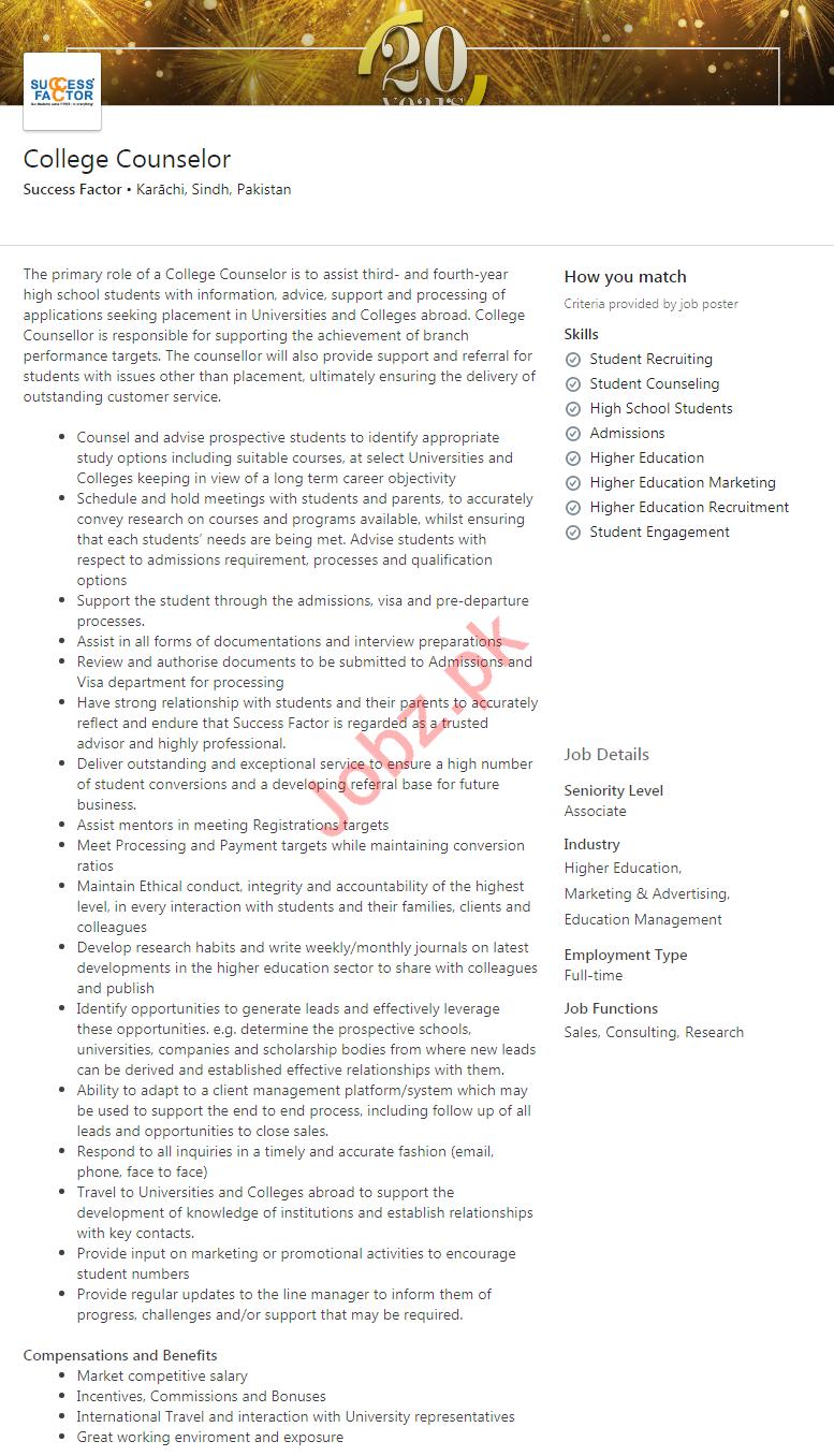 College Counselor Job 2020 in Karachi