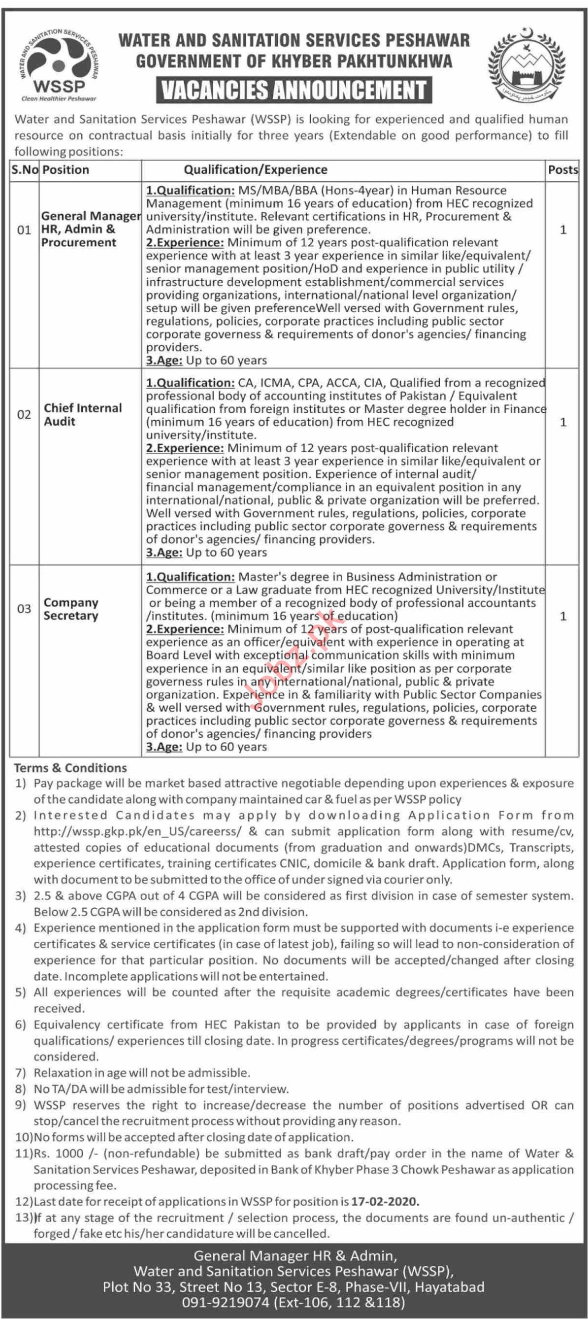 Water & Sanitation Services Peshawar Management Jobs 2020