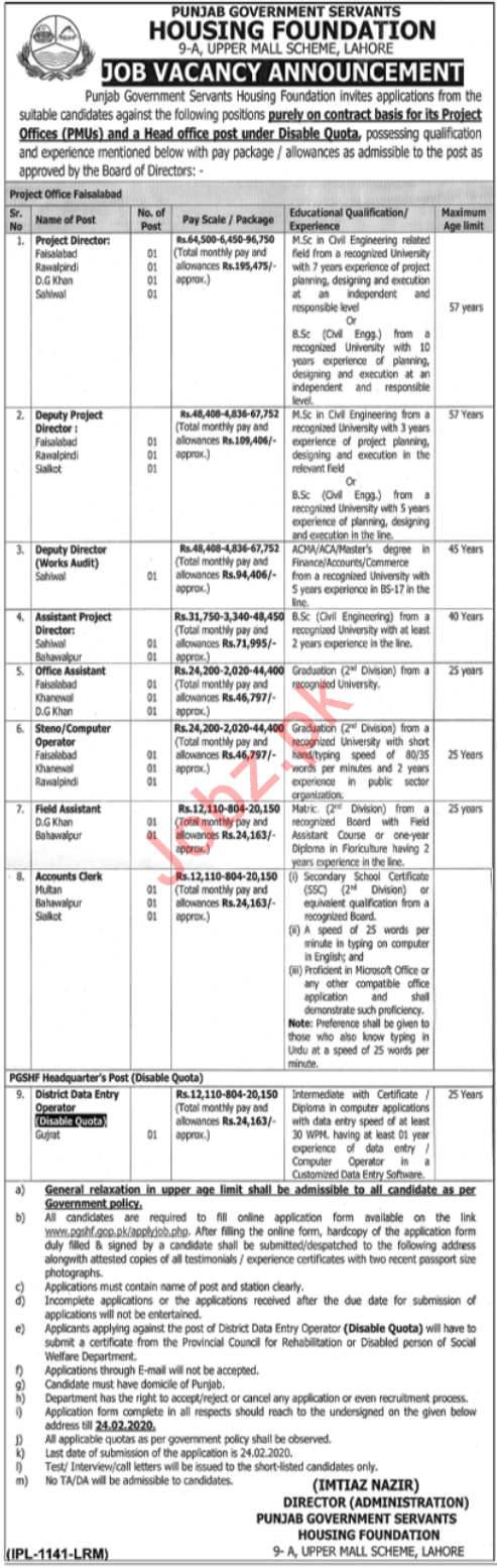Punjab Government Servants Housing Foundation Jobs 2020