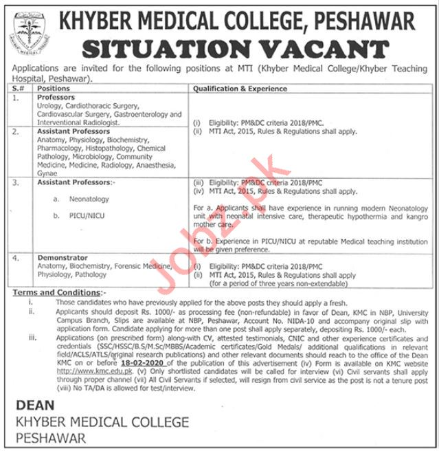 Khyber Medical College Medical Teaching Institute Jobs 2020