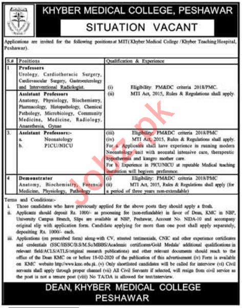 Khyber Medical College MTI Jobs 2020 in Peshawar KPK