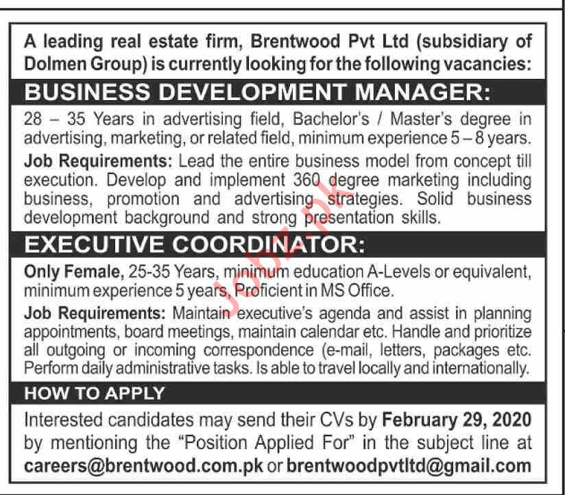 Management Jobs in Real Estate Firm