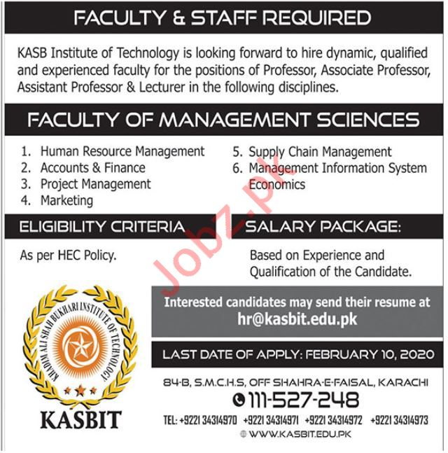 Khadim Ali Shah Bukhari Institute of Technology KASBIT Jobs