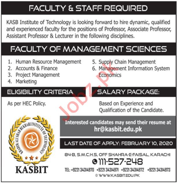 KASBIT Jobs 2020 for Teaching in Karachi