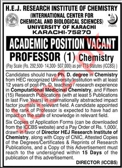 HEJ Research Institute of Chemistry Jobs 2020 in Karachi