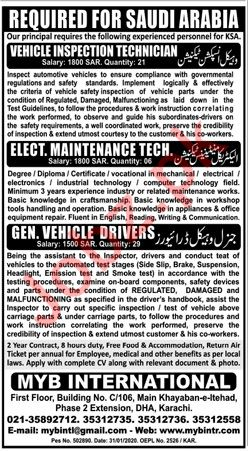 General Vehicle Drivers & Technicians Jobs in Saudi Arabia