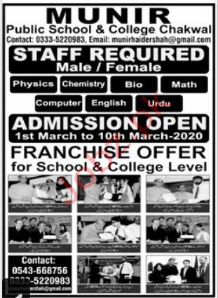 Munir Public School & College Chakwal Jobs 2020
