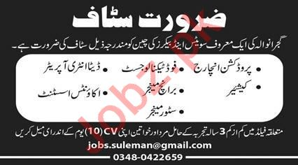 Suleman Sweets & Bakers Jobs 2020 in Gujranwala