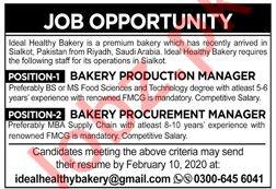 Ideal Healthy Bakery Jobs 2020 in Sialkot