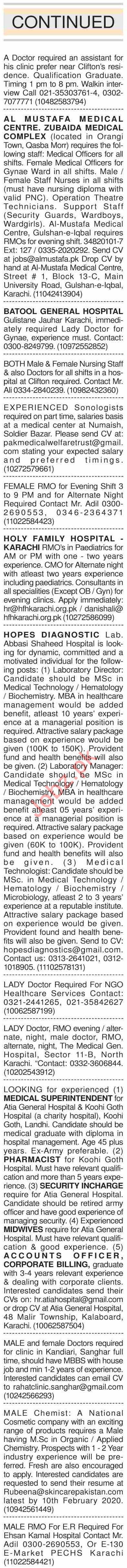 Dawn Sunday Classified Ads 2nd Feb 2020 for Medical Staff