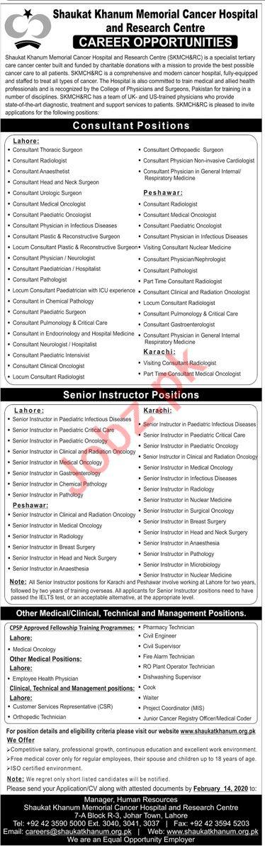 Medical Staff Jobs in Shaukat Khanum Memorial Cancer
