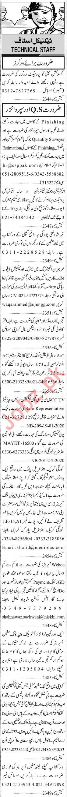 Jang Sunday Classified Ads 2nd Feb 2020 for Technical Staff