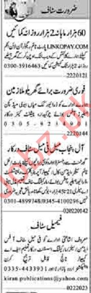 Dunya Sunday Classified Ads 2nd Feb 2020 for Office Staff
