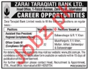 Zarai Taraqiati Bank Limited Management Jobs 2020