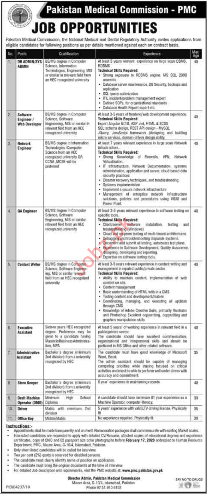 Management Jobs in Pakistan Medical Commission PMC