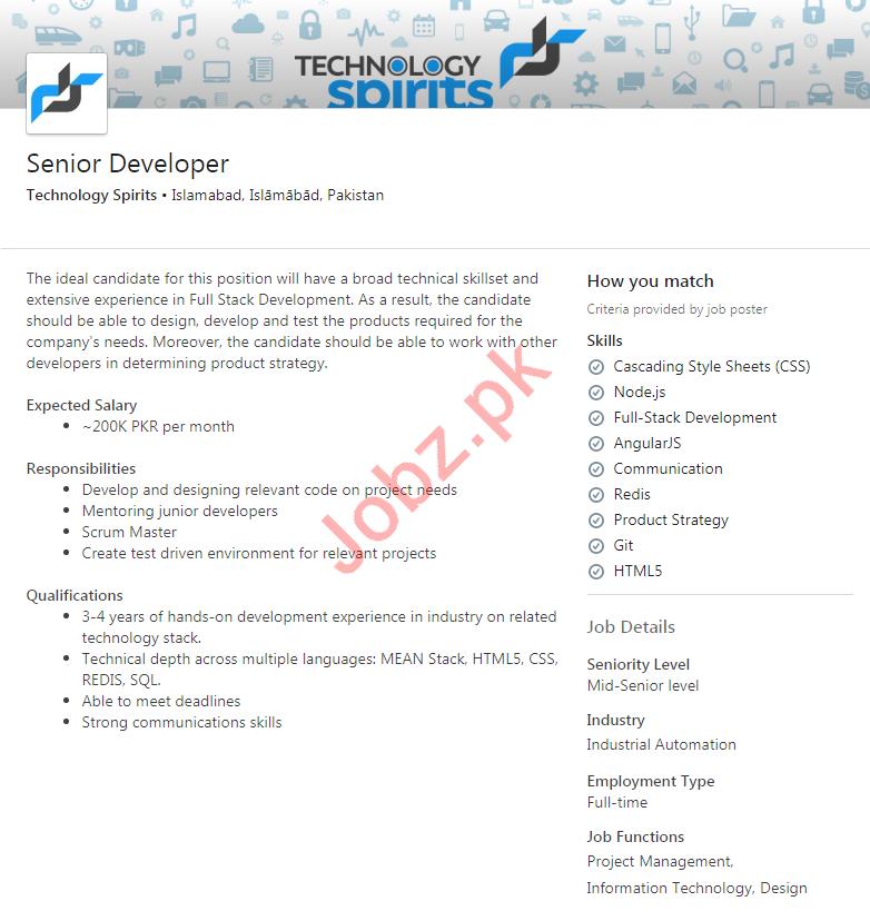 Technology Spirits Islamabad Jobs 2020 Senior Developer