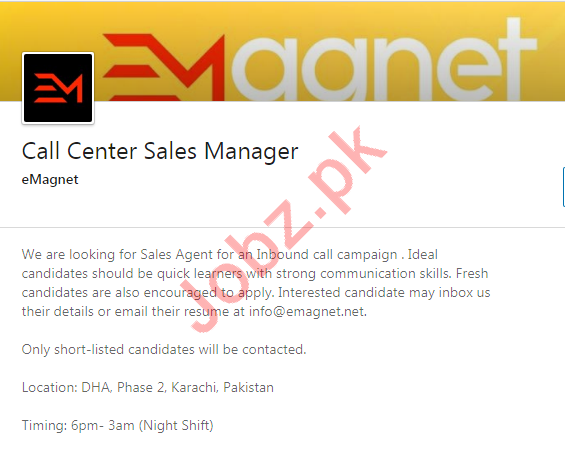 Call Center Sales Manager Job 2020 in Karachi