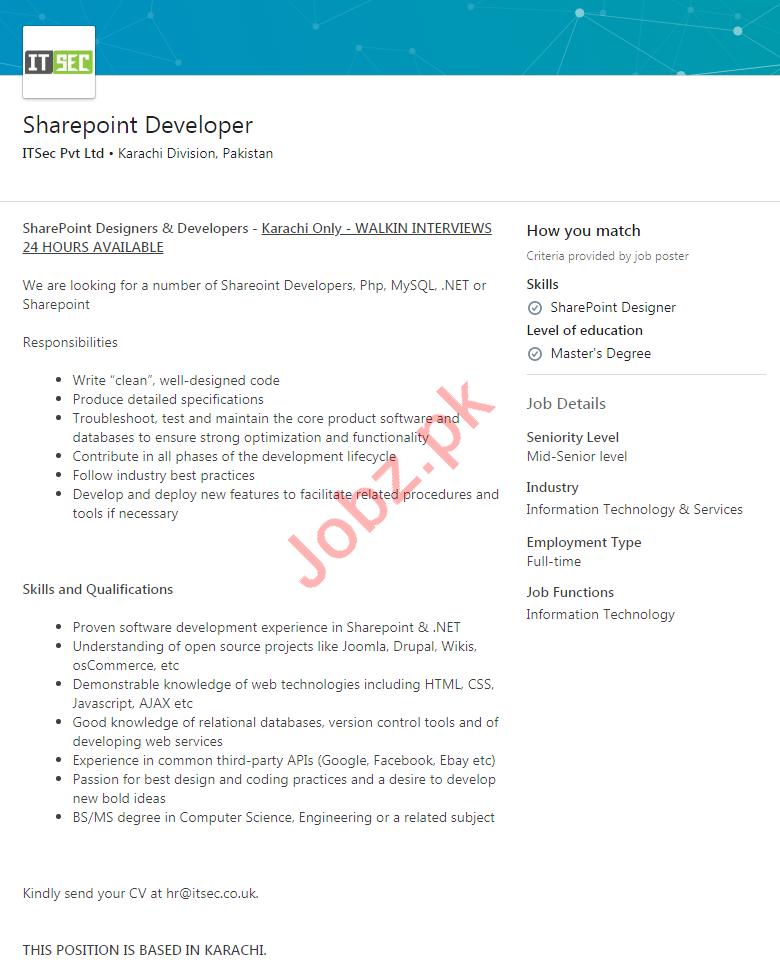 Sharepoint Developer Job 2020 in Karachi Division