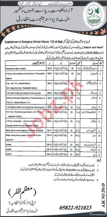 Establishment of Emergency Rescue 1122 Bagh Jobs 2020
