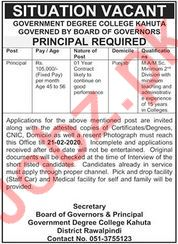 Government Degree College Kahuta Principal Jobs 2020