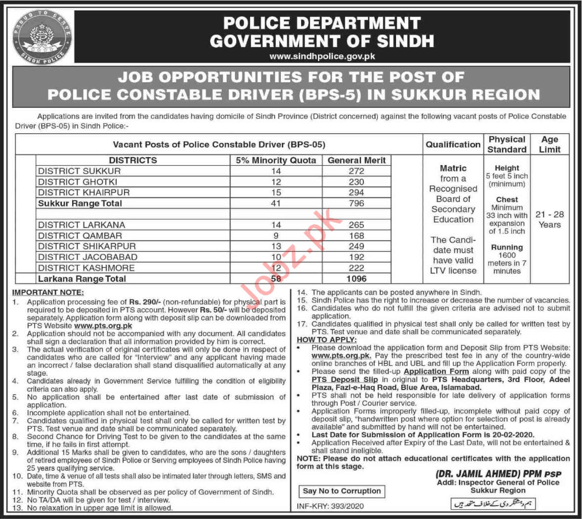 Constable Driver Jobs in Sindh Police Sukkur Region Via PTS