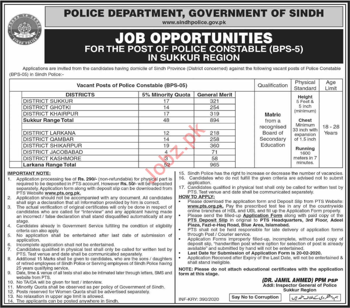 Constable Jobs in Sindh Police Department Sukkur via PTS