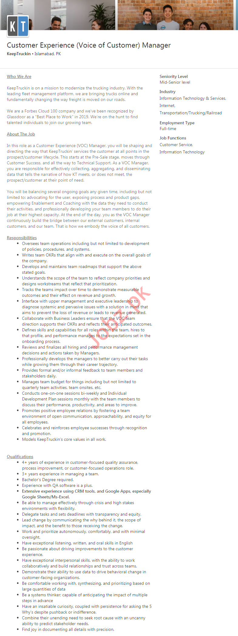 Customer Experience Manager Job 2020 in Islamabad